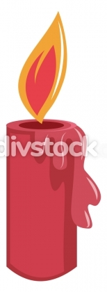 Lighted red christmas candle simple vector illustration on a whi