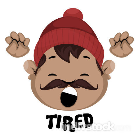 Man is feeling tired, illustration, vector on white background.