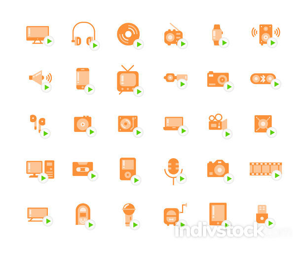 Media devices and players flat icon set.