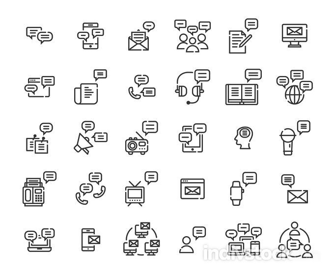 Message outline icon set. Vector and Illustration.