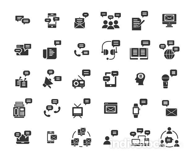 Message solid icon set. Vector and Illustration.