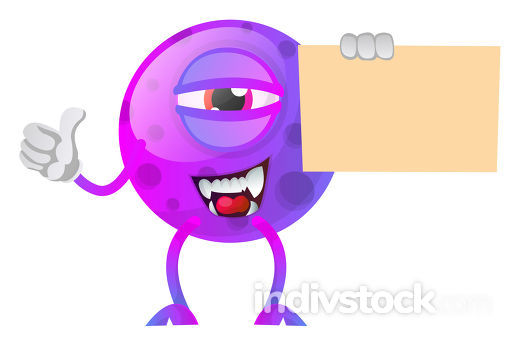 Monster holding a paper and thumb up illustration vector on whit