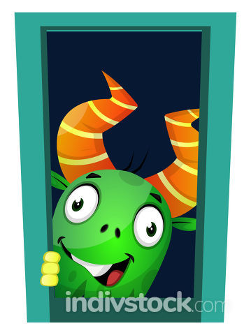 Monster looking through the window, illustration, vector on whit