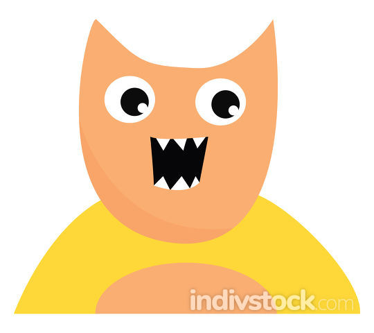 Monster with open mouth, vector or color illustration.