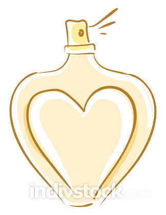 Perfume in heart vector or color illustration