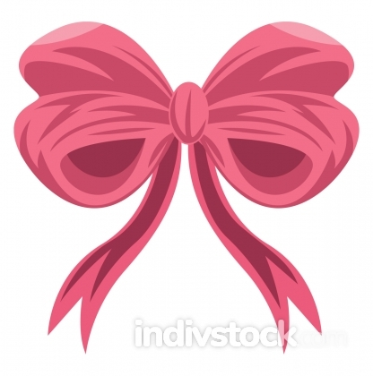 Pink girly ribbon vector illustration on a white background