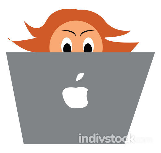 Programmer with MacBook vector or color illustration