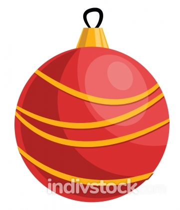 Red and yellow christmas decoration ball vector illustration on