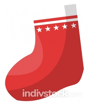 Red christmas sock for presents vector illustration on a white b
