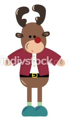 Reindeer with pink gloves vector or color illustration