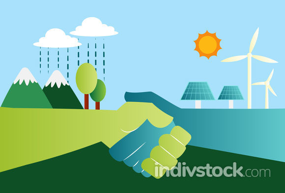 Shaking hands for eco friendly energy resources illustration vec