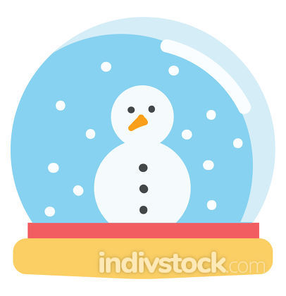 Simple vector illustration on white background of a snow globe w