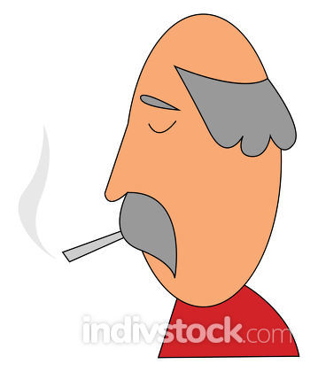 Smoking Oldman vector or color illustration