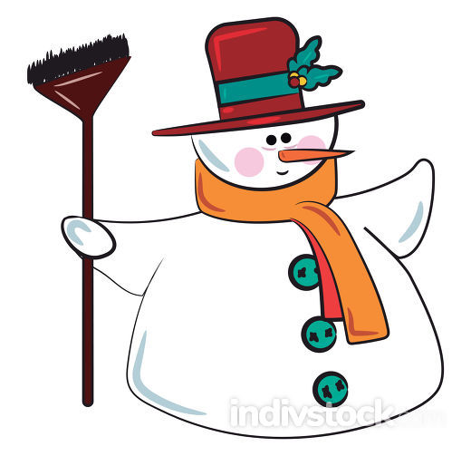 Snowman in festive costume vector or color illustration