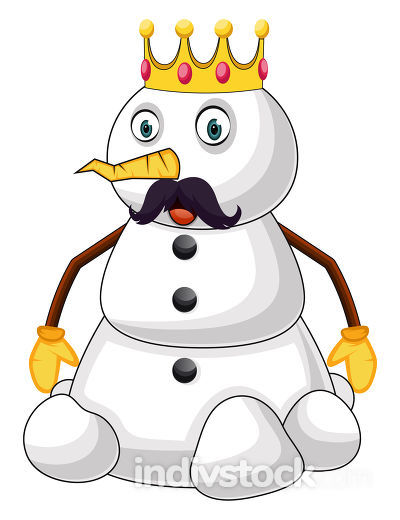 Snowman the king illustration vector on white background