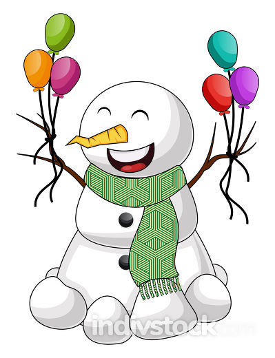 Snowman with balloon illustration vector on white background