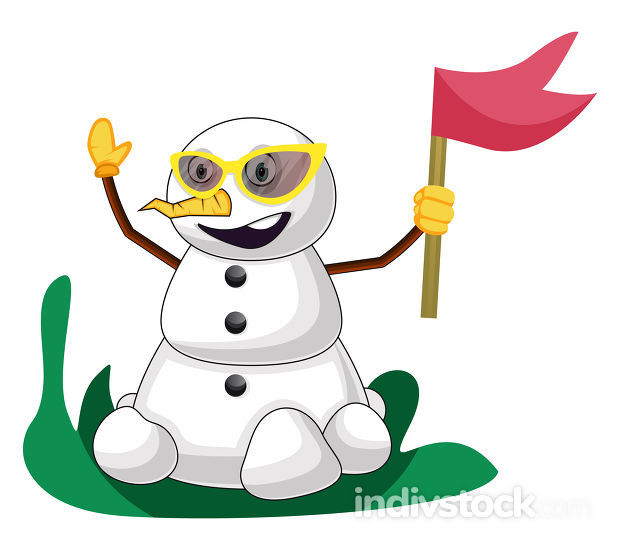 Snowman with flag illustration vector on white background