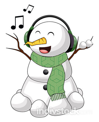 Snowman with headphones illustration vector on white background