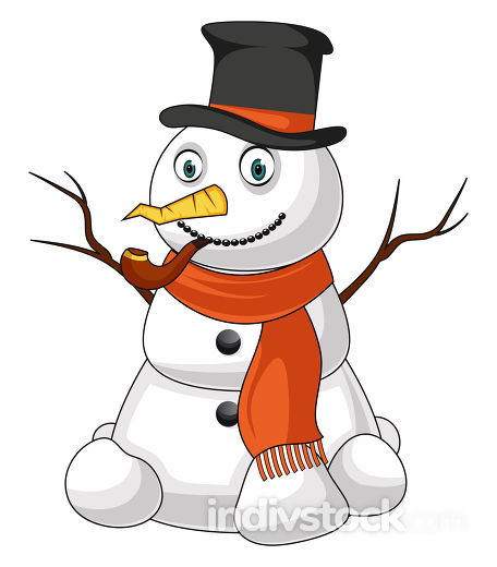 Snowman with pipe illustration vector on white background