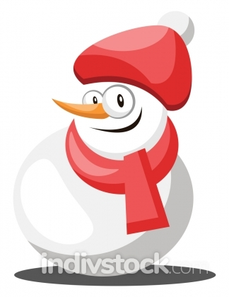 Snowman with red hat and scarf vector illustration on a white ba