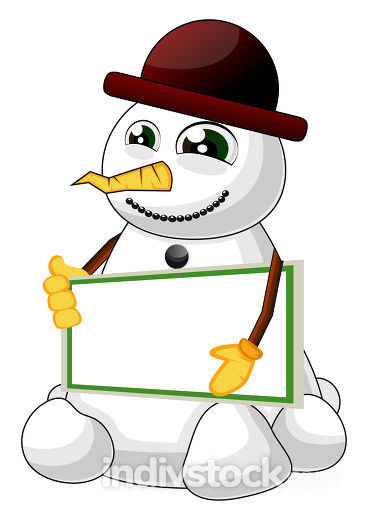 Snowman with table illustration vector on white background