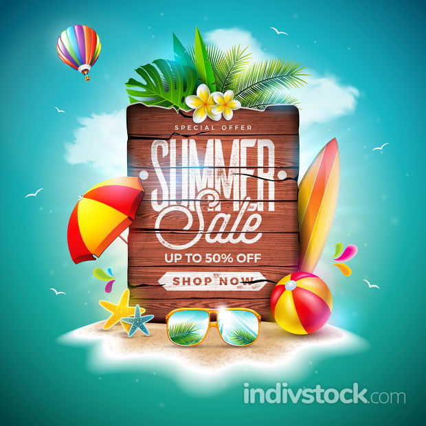 Summer Sale Design with Exotic Palm Leaves