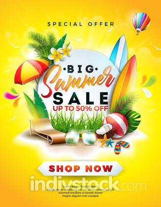Summer Sale Design with Flower