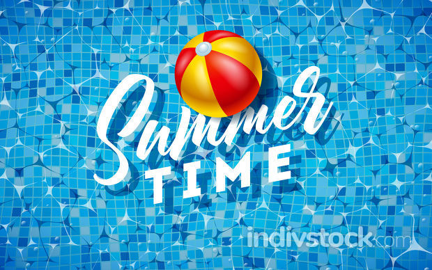 Summer Time Illustration with Beach Ball on Water