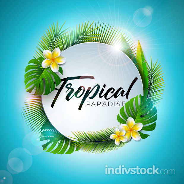 Summer Tropical Paradise Illustration with Typography Letter