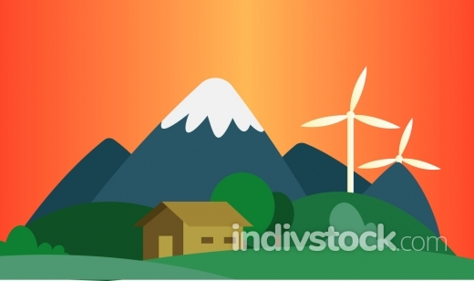 Sunset in the mountains where they use wind as a resource illust