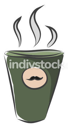 The mustache coffee cup with hot coffee vector or color illustra