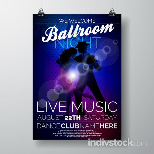 Vector Ballroom Night Party Flyer design