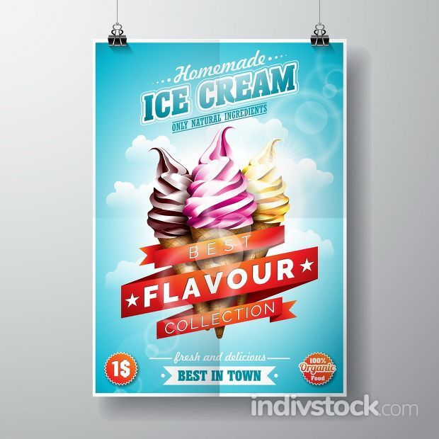 Vector delicious Ice Cream Flyer Design on sky background