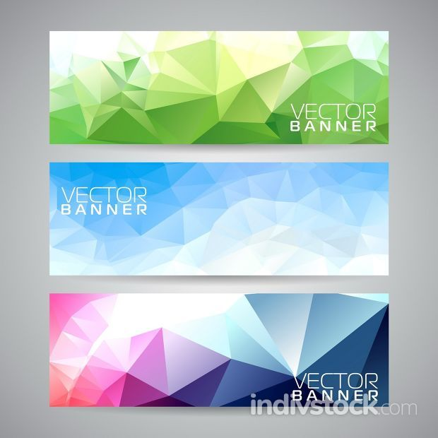 Vector geometric triangles banner background