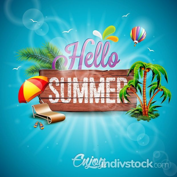 Vector Hello Summer Holiday typographic illustration