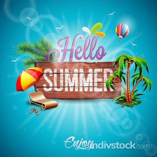 Vector Hello Summer Holiday typographic illustration