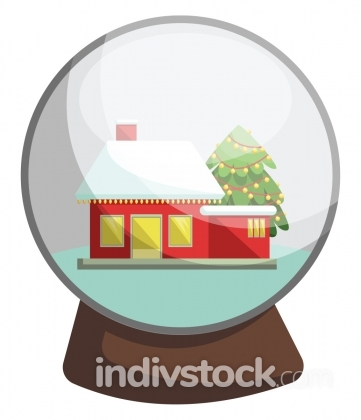 Vector illustration of a christmas crystal ball with red house i