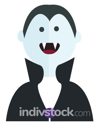 Vector illustration of a smiling Dracula on white background