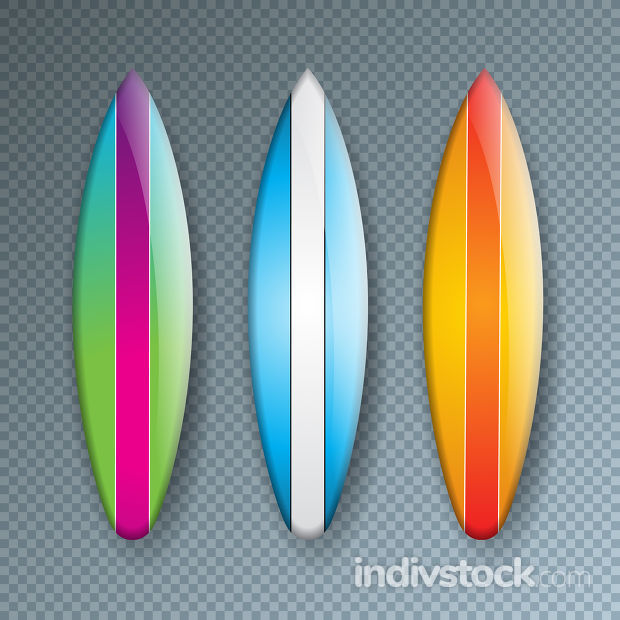 Vector Illustration with Colorful Surf Board