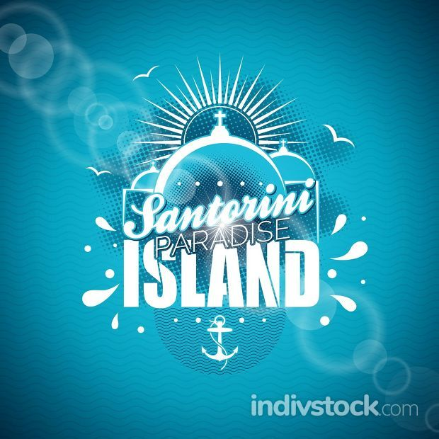 Vector Santorini Paradise Island illustration