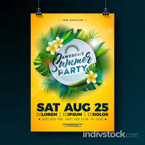 Vector Summer Beach Party Flyer Design with Flower