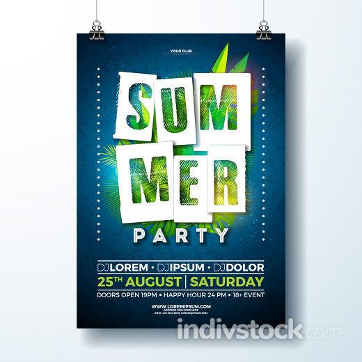 Vector Summer Party Flyer Design