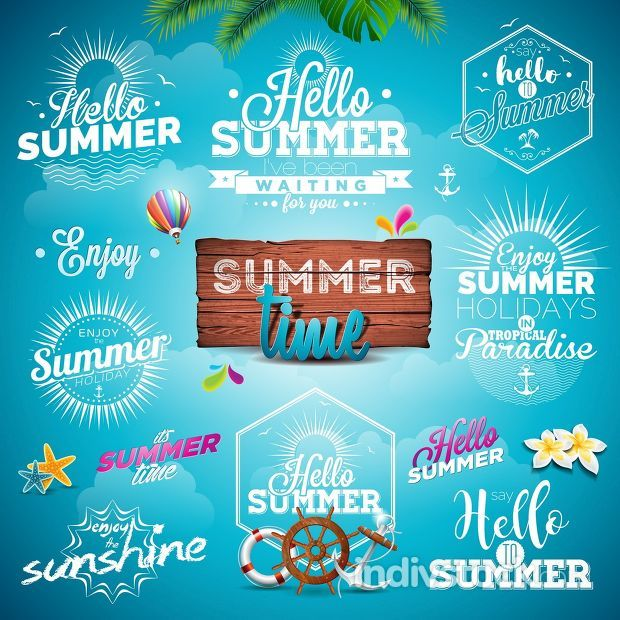 Vector Summer Typography Illustration set