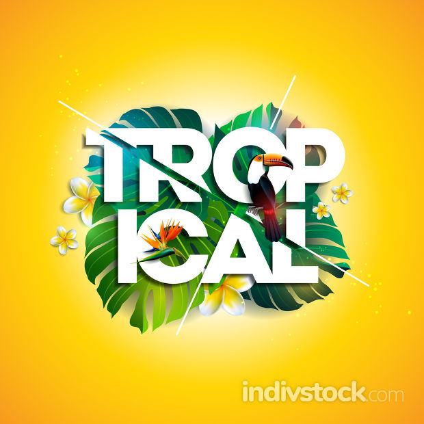 Vector Tropical Holiday typographic