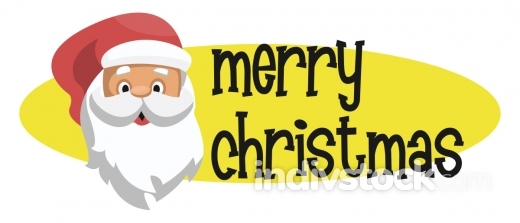 Yellow elipse with Santas head and Merry Christmass text vector