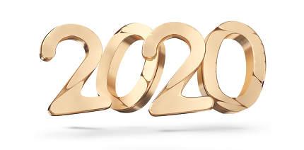 2020 golden bold letters 3d-illustration
