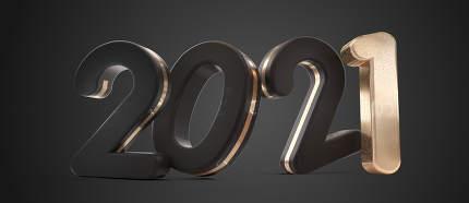2021 dark and golden symbol design 3d-illustration