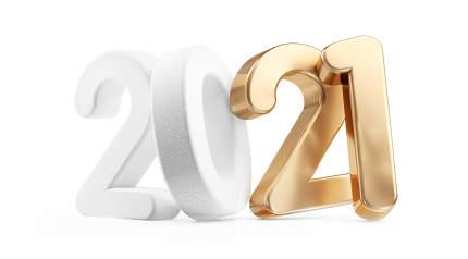 2021 white golden isolated 3d-illustration