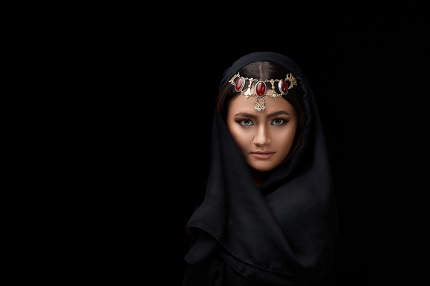 A conceptual middle Eastern portrait of a woman