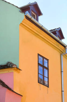 Abstract Colorful House In Sighisoara Romania